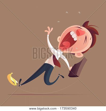 Businessman hold bag slipping on a banana peel Business concept illustration.