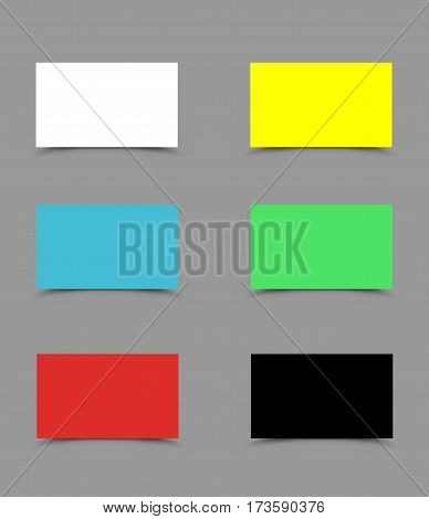 Set of colorful business cards with shadow on gray background