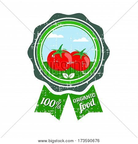 Tomato label. Vegetable logo. Retro sticker of natural product tomatoes vector