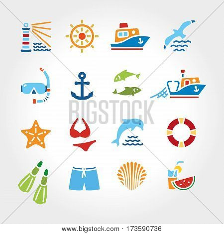 Marine line icon color, logo, logotype. Dolphin and lighthouse, seagull bird, boat ship, fishing fish. Anchor starfish swimsuit shorts fins, steering wheel lifebuoy watermelon, cocktails, shell