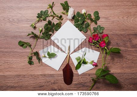 Fountain pen and ink on wooden background. White envelope and red roses. Greeting card. Conceptual photography. Wedding invitation card. Valentine day. Tips to pen. Flat lay copyspace mock up
