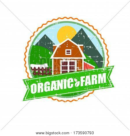 Farm House concept logo. Template with farm landscape. Label for natural farm products. Black logotype isolated on white background. Vector illustration.