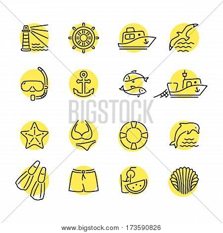 Marine line icon color in circle logo, logotype. Dolphin and lighthouse, seagull bird, boat ship, fishing fish. Anchor starfish swimsuit shorts fins, steering wheel lifebuoy watermelon, shell