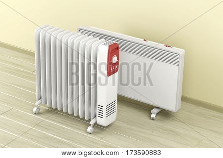 Electric oil-filled and panel heaters, 3D illustration