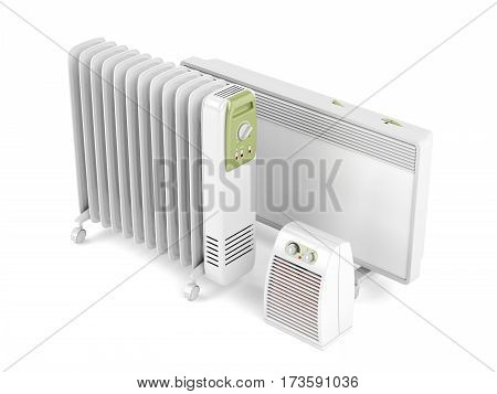 Fan oil-filled and convection electric heaters on white background, 3D illustration