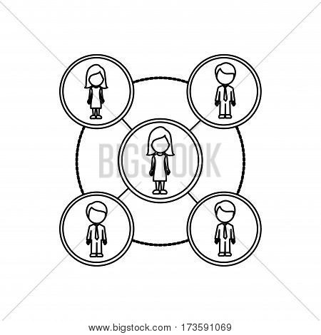 monochrome contour schematic with faceless working groups vector illustration