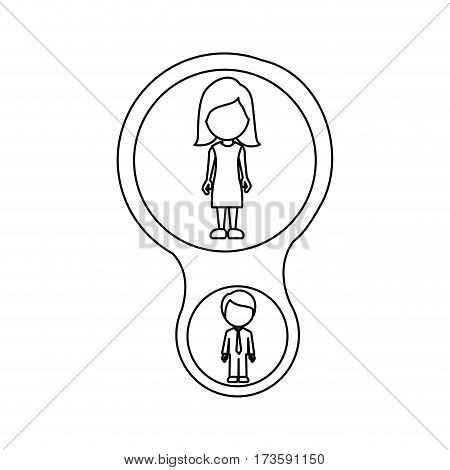 monochrome contour schematic with mom and son faceless vector illustration