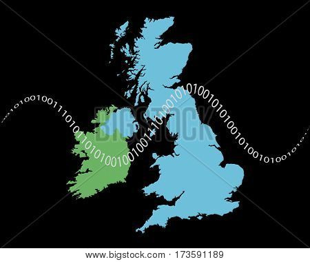 Outline shape of UK and Ireland map overlaid with ones and zeros