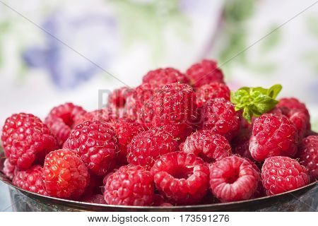 Fresh  Raspberries In Vintage Basket, Vitamins, Healthy Food, Ve