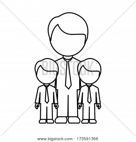 monochrome contour with father and sons in suit and faceless vector illustration