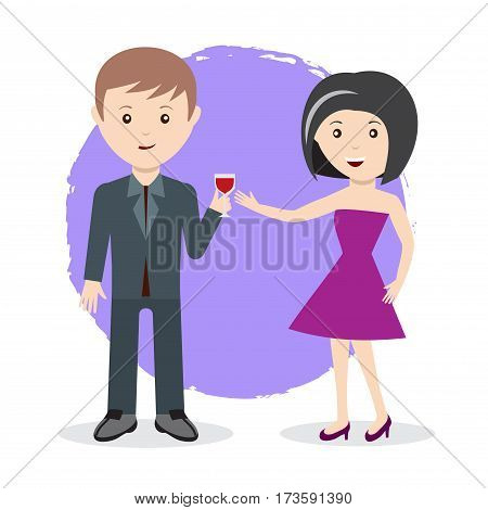 man and woman toast with red wine vector illustration