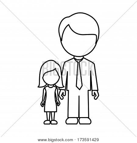 monochrome contour faceless with father and daughter in formal clothes vector illustration