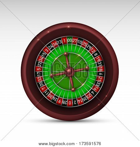 Realistic casino gambling roulette wheel isolated on white background. Vector illustration