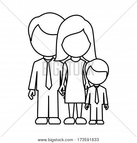 monochrome contour faceless with dad mom and son in formal clothes vector illustration