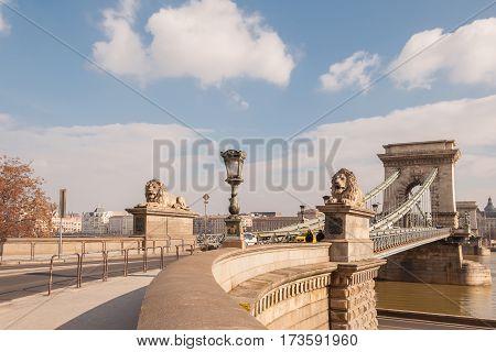 BUDAPEST HUNGARY - FEBRUARY 20 2016: The Szechenyi Chain Bridge on the River Danube in Budapest Hungary.