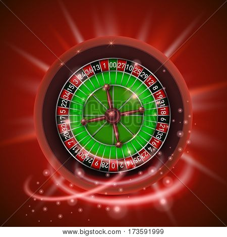 Realistic casino gambling roulette wheel, isolated on red background. Vector illustration