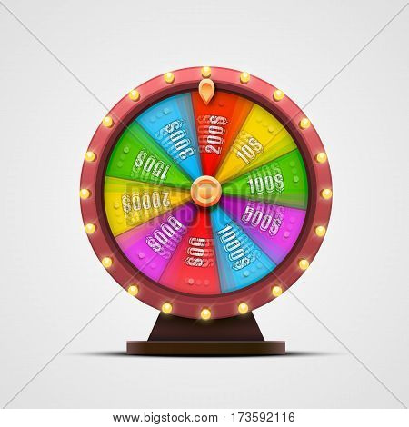 Colorful fortune wheel. isolated on white background. Vector illustration