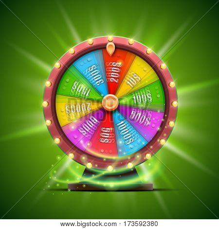 Colorful fortune wheel. isolated on green background. Vector illustration