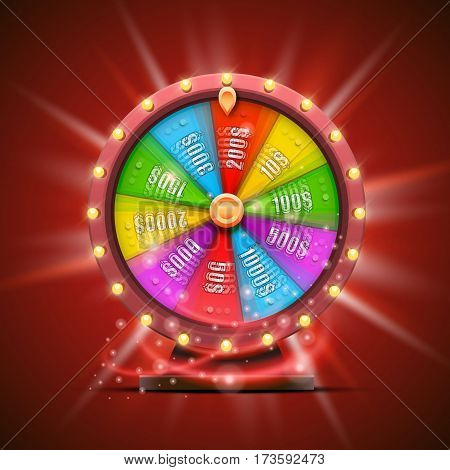 Colorful fortune wheel. isolated on red background. Vector illustration