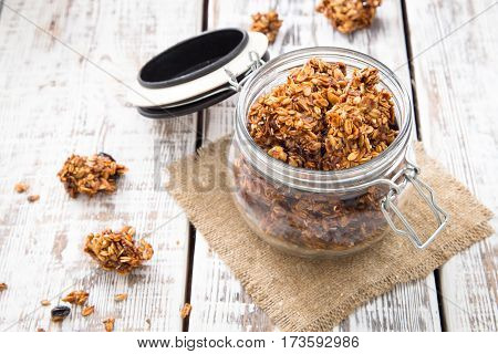 Healthy Breakfast. Fresh Granola, Muesli In A Glass Jar. Copy Space.organic Oat,almond And Cherry
