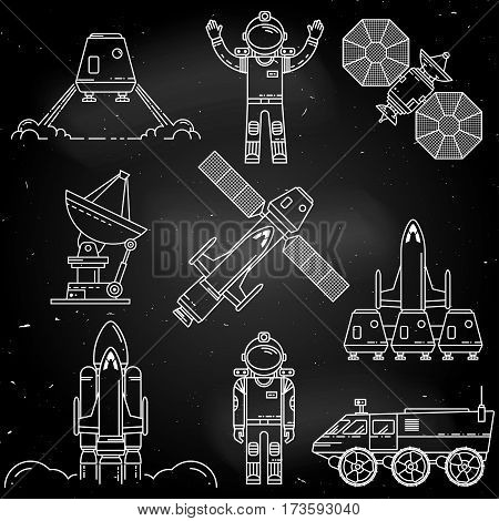 Space thin line icon design on the chalkboard. Human mission to Mars. For web design and application interface, also useful for infographics.