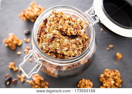 Healthy Breakfast. Fresh Granola, Muesli In A Glass Jar. Copy Space.organic Oat,almond And Cherry