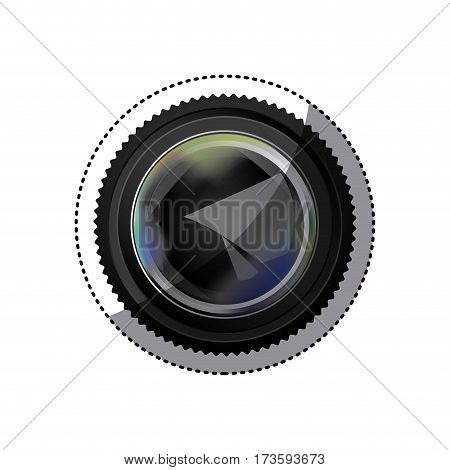 sticker realistic silhouette color with open shutter analog camera lens vector illustration