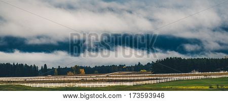 Image of low clouds in the countryside.