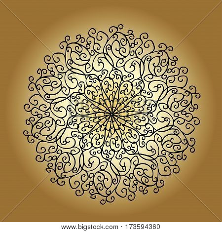 Mandala decorative flower lace snowflake round element embossed pattern arabic ornament indian ornament Vector
