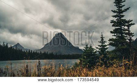 Mountains and forests on a cloudy day.