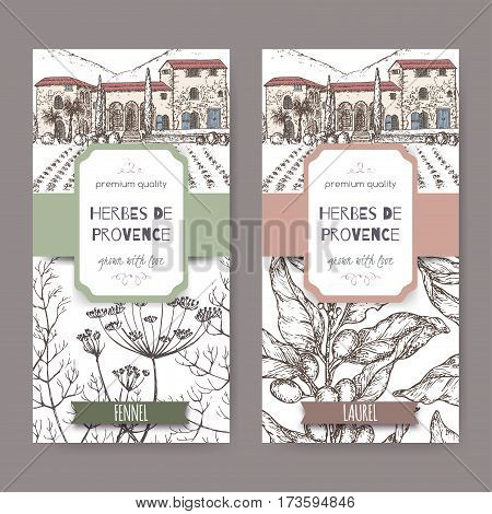 Two Herbes de Provence labels with Provence cottage, fennel and laurel sketch. Culinary herbs collection. Great for cooking, medical, gardening design.