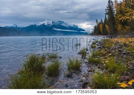 Image of a lush lake coast overlooking snowcapped mountains.