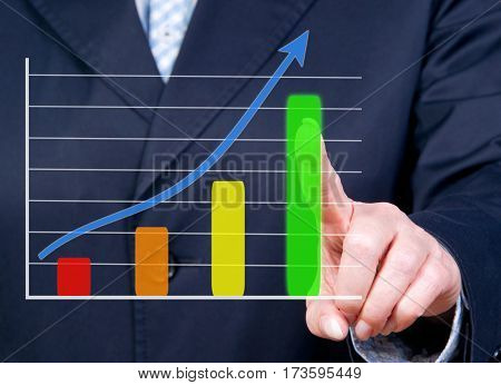 Business growth chart with positive sales performance