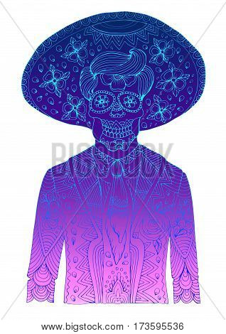 Vector hand drawn line man with sugar skull calavera makeup with patterned sombrero on his head. Mexican holiday Day of the Dead. Halloween costume party, page A4 size. Isolated on a background