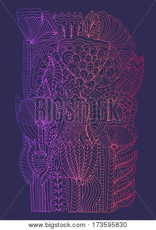 Vector hand drawn doodle pattern of unrealistic flowers in magic garden. Page for book floral carpet. Zentangle drawing. Isolated on a violet background