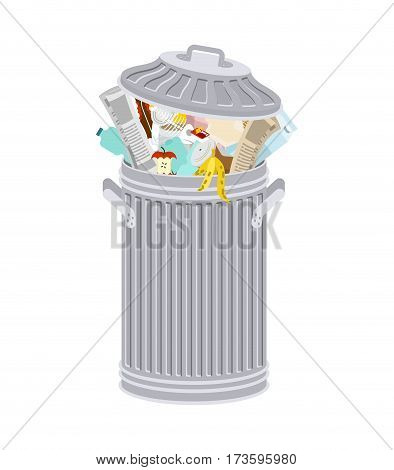 Trash Can With Rubbish Isolated. Wheelie Bin With Garbage On White Background. Dumpster Iron. Peel F