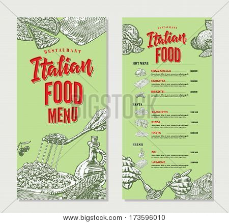 Vintage italian food restaurant menu template with traditional dishes in sketch style on green background vector illustration
