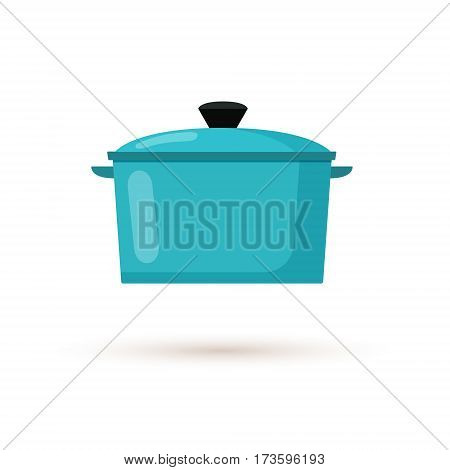Kitchen pot isolated on white background. Cartoon saucepan, subject of to cooking. Flat style vector illustration.