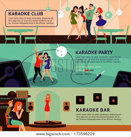 Karaoke party horizontal banners with singing and dancing people in flat style vector illustration