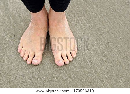 Feet of woman at the beach - barefoot on sand