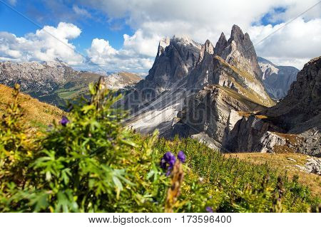 View of Geislergruppe or Gruppo delle Odle Italian Dolomites mountains