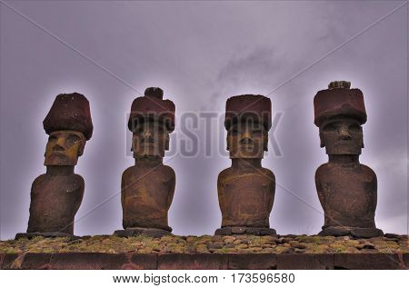 Shot of the Moai statues at Anakena Beach in Easter Island Rapa Nui Chile South America