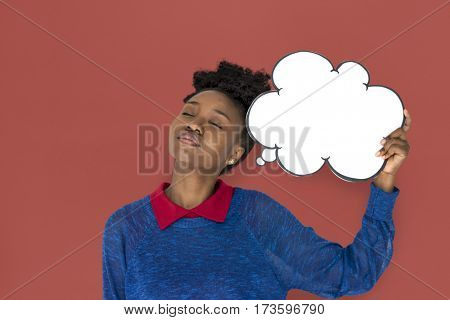 African Woman with Speech Bubble Thinking of Something