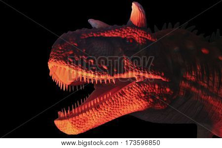 A Flesh Eating Carnotaurus Dinosaur in Red and Black Whose Name Means Meat Eating Bull