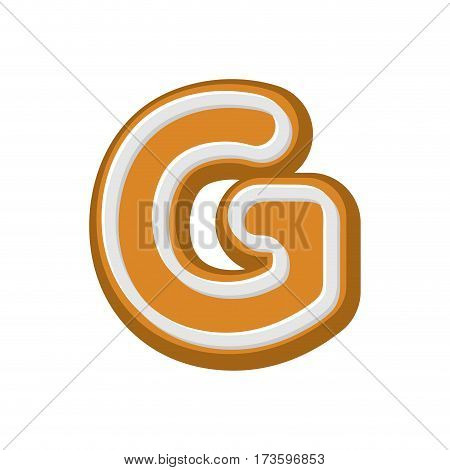 Letter G Gingerbread. Peppermint Honey-cake Font. Cookies Alphabet. Lettering Biscuit