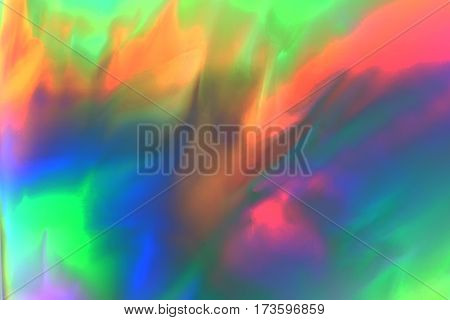 Colorful psychedelic abstract showing stress distribution in plastic using polarized light
