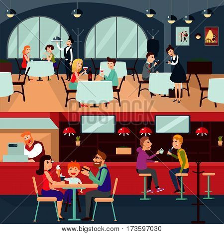 Resting people horizontal composition with family friends and couple eating and talking in restaurant vector illustration