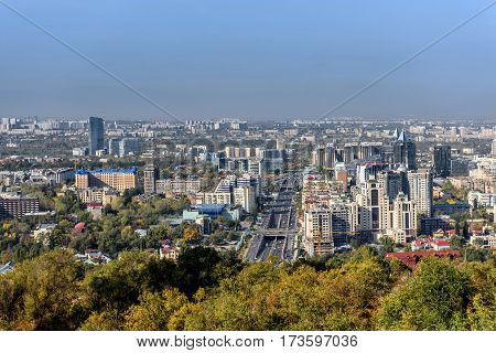 Prospect in the city of Almaty, a top view