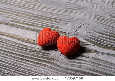 Heart On A Wooden Background With Snow