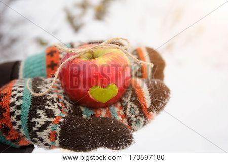 Apple With Heart In Hands In Winter